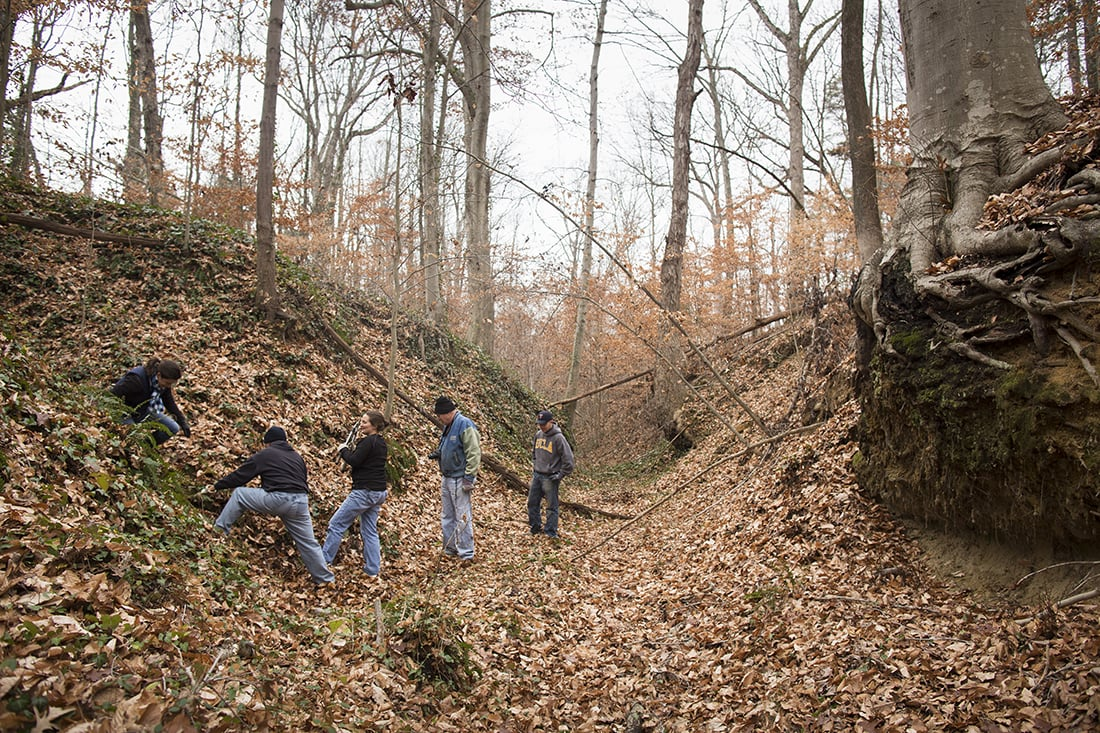 Volunteers working in a ravine.