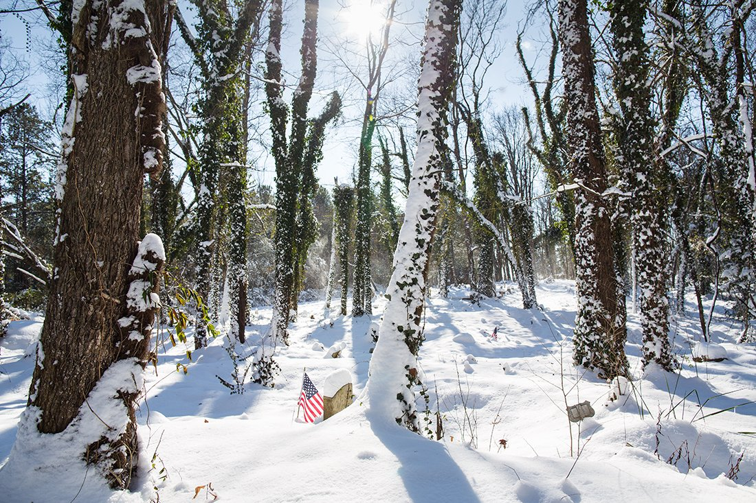 A snowy day in bright sun with flags near veterans' markers.
