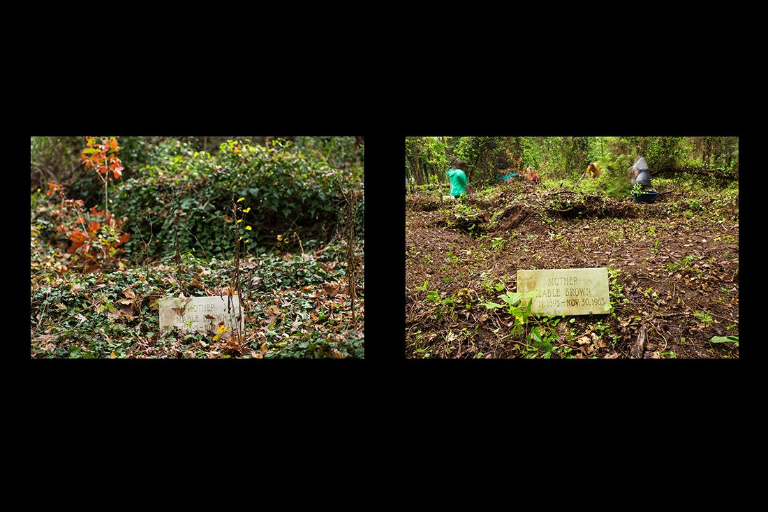 Diptych showing before and after clearing around a marker.