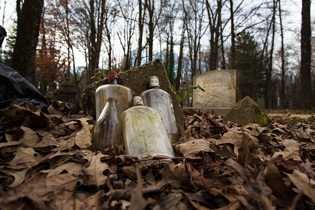 Old bottles on the ground.